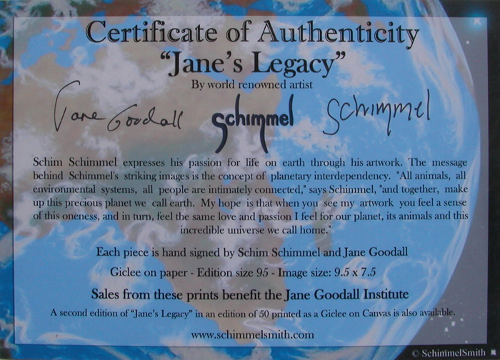 Certificate Jane's Legacy